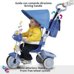 TRICICLO BABY PLUS AZZURRO CON CAPOTTINA